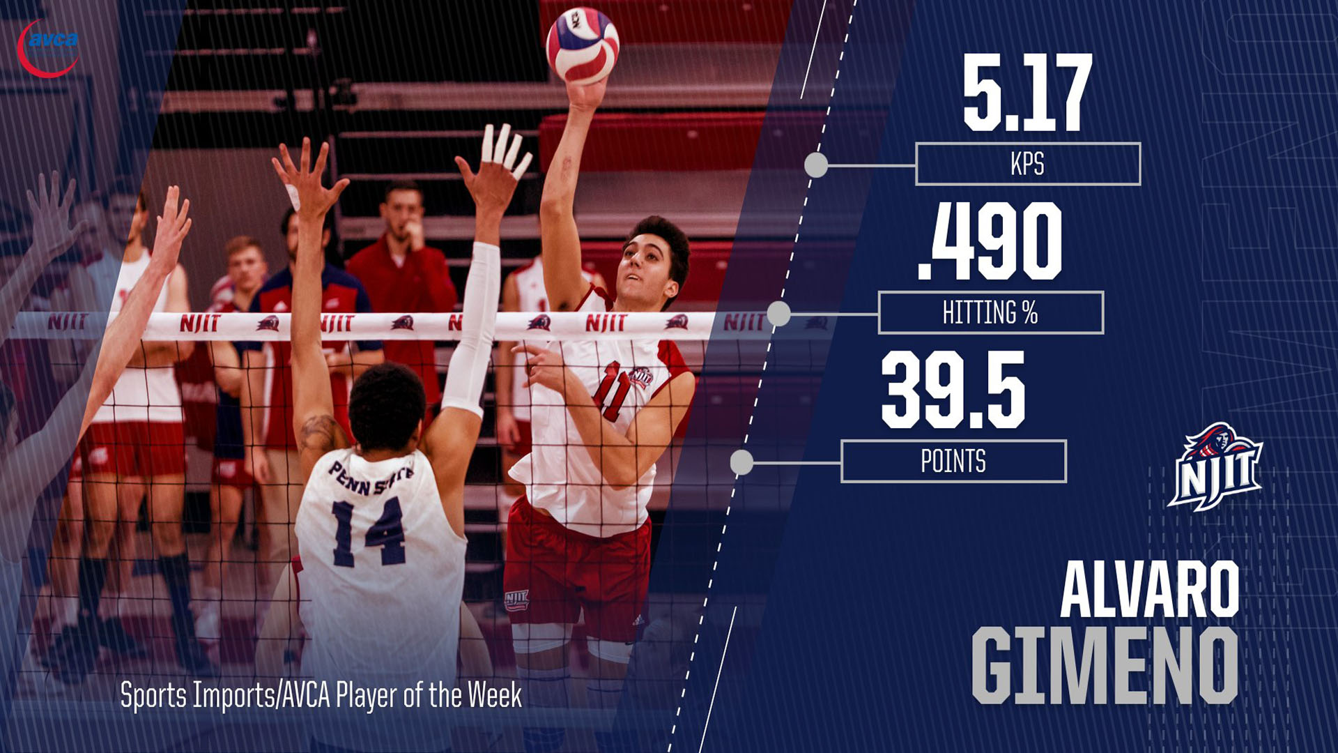 995d526d5 Alvaro Gimeno Earns Sports Imports/AVCA Player of the Week - New ...