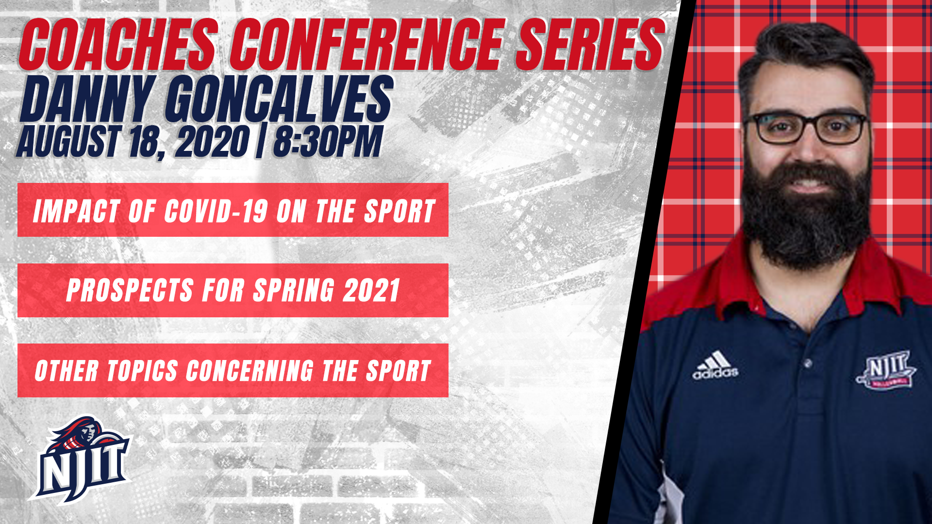 """Njit Spring 2021 Calendar NJIT Athletics """"Coaches Conference Series"""" with Men's Volleyball"""